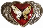 Butterfly on 3 Hearts Red -  Gold and Silver Plated Belt Buckle. WD8